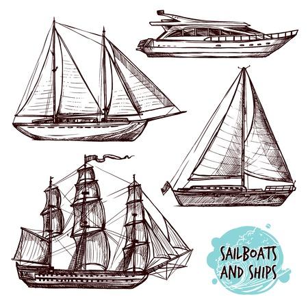 Hand getrokken retro zeilschepen en speedboot geïsoleerd set vector illustratie