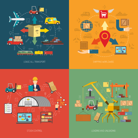 dock: International logistics worldwide freight delivery service concept 4 flat icons square composition  banner abstract isolated vector illustration