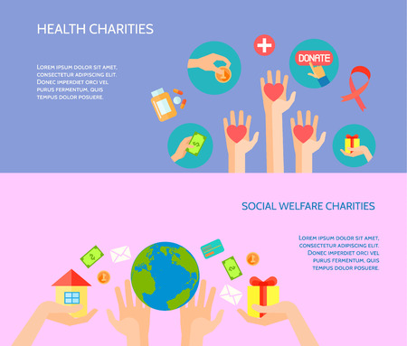 Health and social welfare charities site for donations 2 flat horizontal banners homepage abstract isolated vector illustration