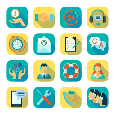 administrativo: Iconos de color estilo plano conjunto de apoyo de asistencia técnica al cliente remoto y monitoreo aislado 24 horas ilustración vectorial