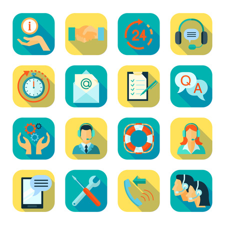 Flat style color icons set of remote technical assistance customer support and 24 hour monitoring isolated vector illustration Illustration