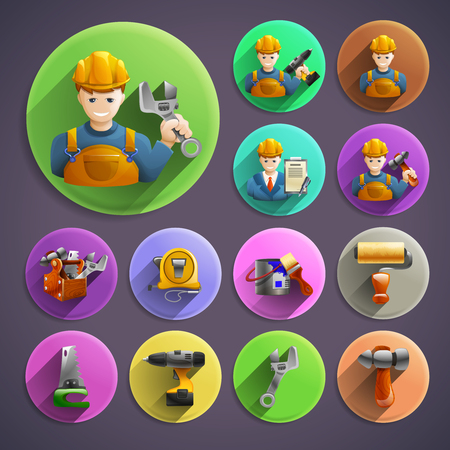 character abstract: Construction remodeling and renovation colorful round isometric icons composition against dark background character abstract isolated vector illustration
