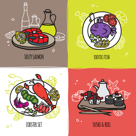 exotic fish: Seafood design concept set with salmon exotic fish lobster set sushi and roll flat isolated vector illustration