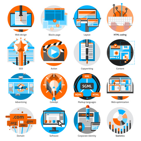 round icons: Creative online work round icons set with concept software and action flat isolated vector illustration