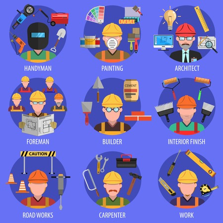 foreman: Worker decorative icons set with handyman architect and builder avatars isolated vector illustration