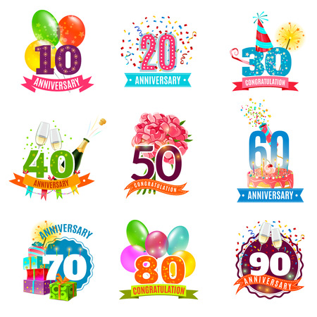 feliz: Cumpleaños aniversario festivo emblemas iconos conjunto de tarjetas personalizadas regalos y presentes colorido abstracto ilustración vectorial aislado