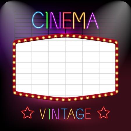 premiere: Cinema premiere vintage advetrising neon lights sign board vector illustration