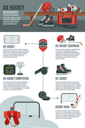 hockey goal: Ice hockey game and competitions concept infographic  banner layout with sport equipment and accessories abstract vector illustration Illustration