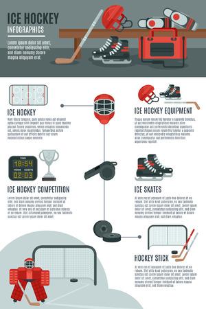 hockey sobre cesped: Juego de hockey sobre hielo y competiciones concepto de dise�o de banner infograf�a con material deportivo y accesorios abstracto ilustraci�n vectorial Vectores