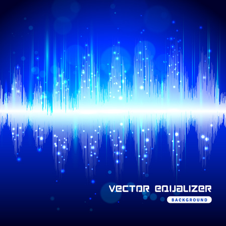 audio equipment: Electronic audio equipment digital equalizer sound wave track bright blue on dark background poster abstract vector illustration. Illustration