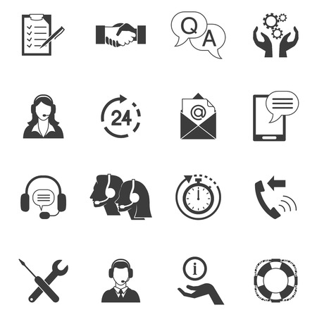 Flat style black and white icons set collection of fast support service and remote technical assistance isolated vector illustration Illustration