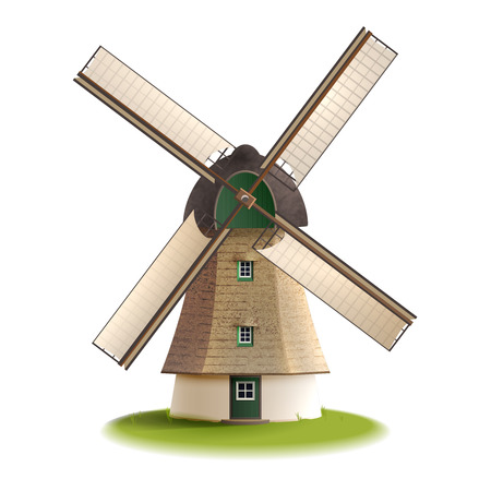 wind mills: Traditional old windmill building single object color painted concept isolated vector illustration