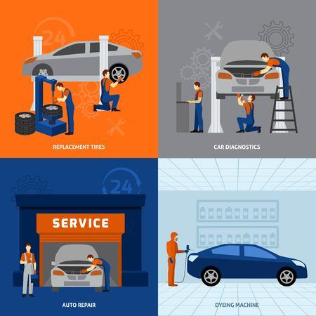 mecanico automotriz: Mecánico concepto de diseño conjunto con iconos planos de reparación de reemplazo neumáticos aislados ilustración vectorial