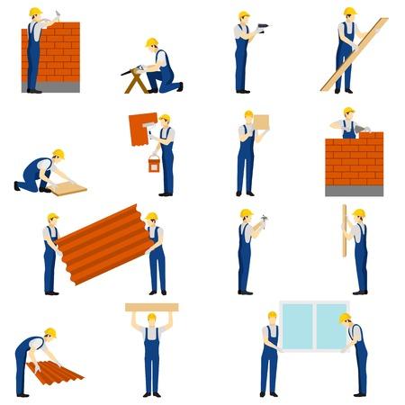 albañil: Constructores iconos conjunto con la gente de trabajo siluetas ilustración vectorial aislado