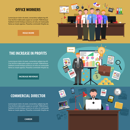 manager office: Office horizontal banner set with workers and director avatars isolated vector illustration