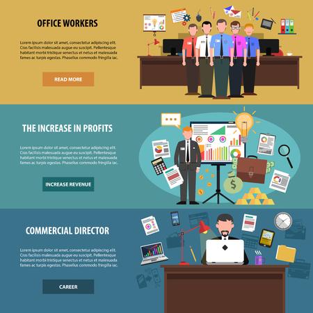 seguridad laboral: Oficina banner horizontal de conjunto con los trabajadores y los avatares director aislado ilustración vectorial