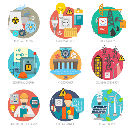 power generation: Energy  concept flat round icons composition collection of clean power generation and transmission abstract vector isolated illustration