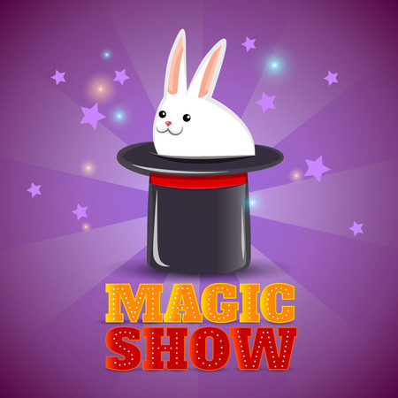hat trick: Travelling circus performance advertisement background poster with magical rabbit in the hat trick abstract isolated vector illustration Illustration