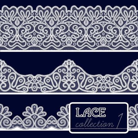floral elements: Decorative white lace pattern set isolated on blue background vector illustration