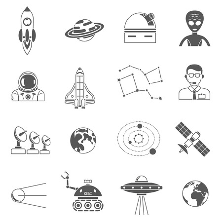 moon walker: Space research science symbols and phenomena black icons set with abstract with lunar walker isolated vector illustration Illustration