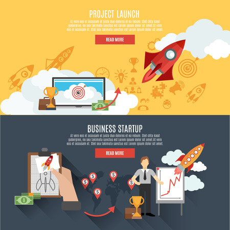 project team: Business startup project launch two horizontal banners webpage interactive design with rocket flat abstract isolated vector illustration