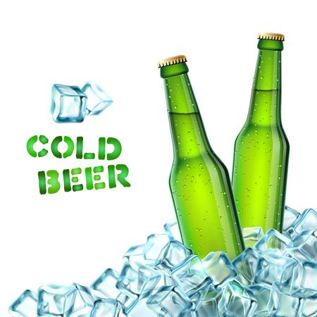 アイス キューブ装飾のアイコン ベクトル図に現実的な緑色のビール瓶