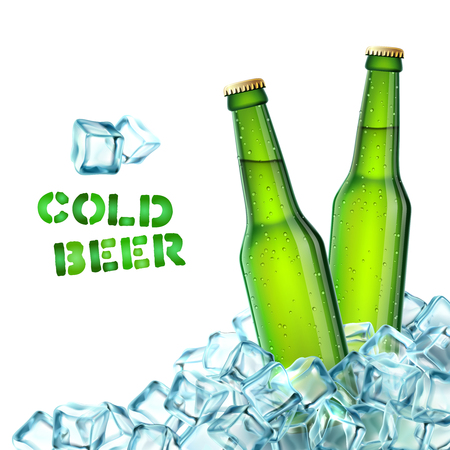 Realistic green beer bottles in ice cubes decorative icons vector illustration Illustration