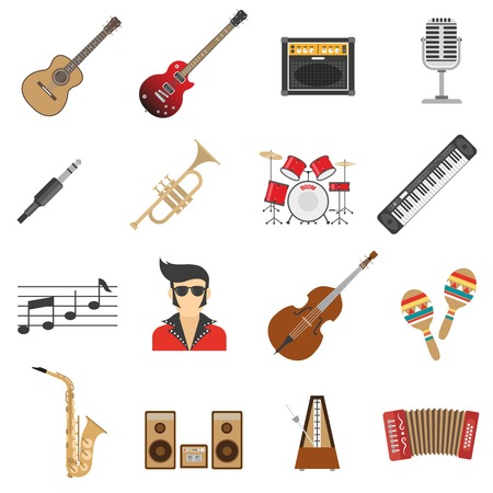 icon collection: Music icons flat set with instruments and singer isolated vector illustration