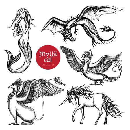 Criaturas mano mítico conjunto boceto dibujado ilustración vectorial aislado
