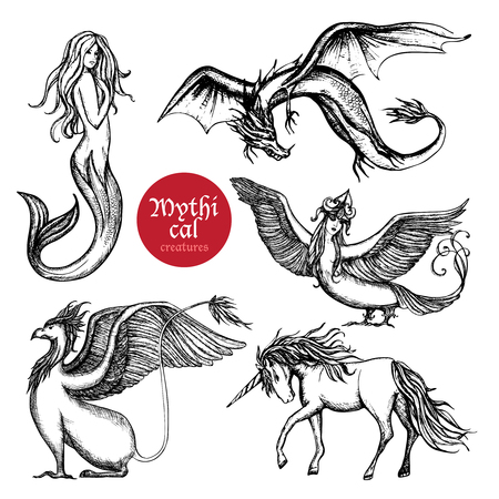 Mythical creatures hand drawn sketch set isolated vector illustration Illustration