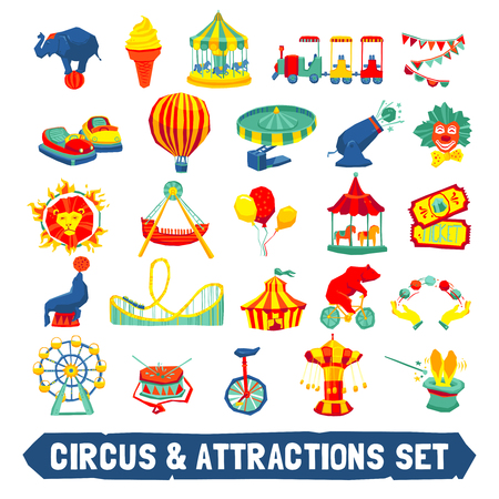 animal themes: Circus and attraction icons set with animals clown rides symbols flat isolated vector illustration Illustration