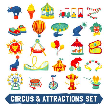 circo: Iconos del circo y atracciones establecidos con los animales payaso paseos símbolos plana aislado ilustración vectorial Vectores
