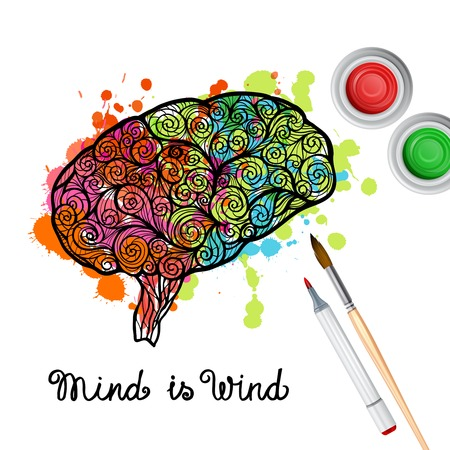 creativity concept: Creativity concept with hand drawn human brain with paint splashes vector illustration