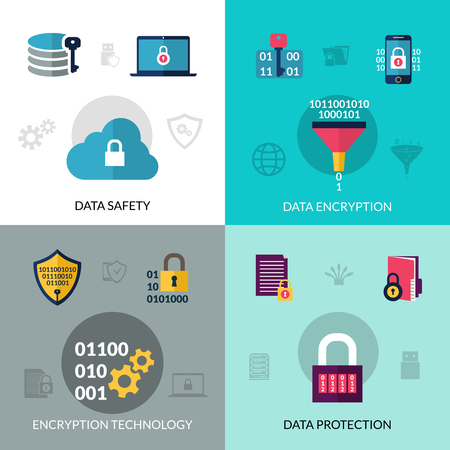 hub computer: Data encryption design concept set with safety and protection technology icons isolated vector illustration Illustration