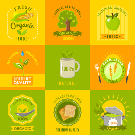 ecologically: Natural food from ecologically grown crops and vegetables emblems flat icons set abstract isolated vector illustration