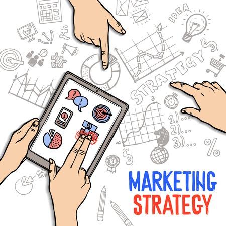 estrategia: Comercializaci�n concepto de estrategia con las manos que sostienen la tablilla y s�mbolos de negocios de dibujo ilustraci�n vectorial Vectores
