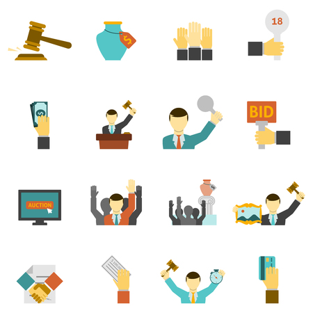 Auction icons set with hammer hands and money flat isolated vector illustration Illustration