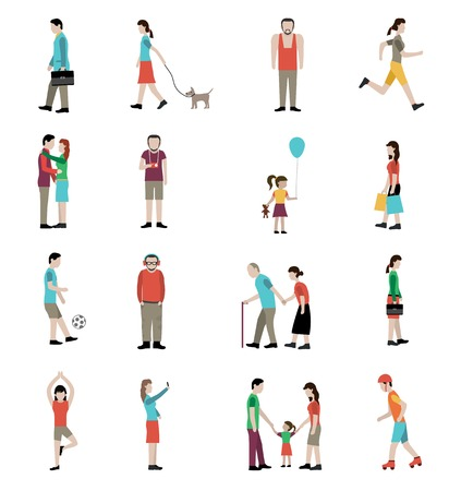 adult toys: Lifestyle icons set with adults and children playing and doing sports outdoors isolated vector illustration