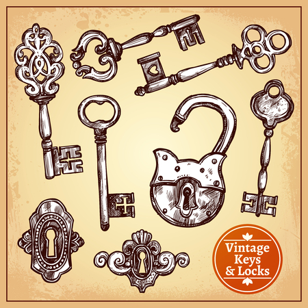 door lock love: Vintage hand drawn locks keys and keyholes set isolated vector illustration