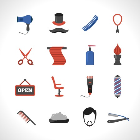 telephone pole: Barber salon icons set with hair dryer comb blade isolated vector illustration Illustration