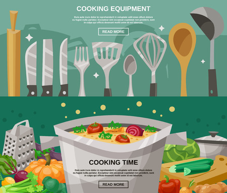 soup: Cooking equipment and time horizontal banners set with kitchen utensils and vegetables flat isolated vector illustration Illustration