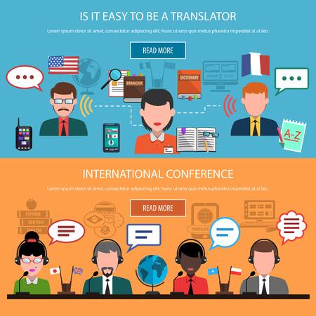 multinacional: Traducci�n banners horizontales con la interpretaci�n en tiempo real y multinacional conferencia de ilustraci�n vectorial aislado Vectores