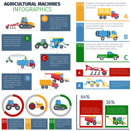 trailers: Agricultural machines infographic set with sprayer tractors and plough flat vector illustration