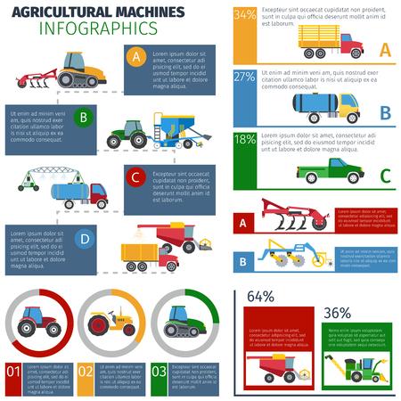 agricultura: M�quinas agr�colas conjunto infograf�a con tractores de pulverizaci�n y el arado ilustraci�n vectorial plana