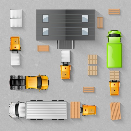 of view: Warehouse concept with top view trucks and buildings isolated vector illustration Illustration