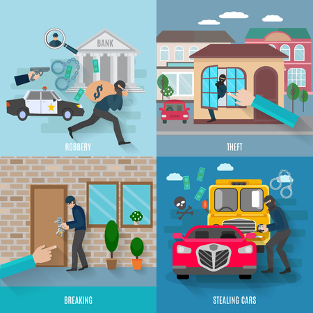 robbery: Stealing icons set with breaking robbery and stealing cars flat isolated vector illustration
