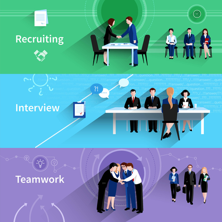 Human resources wervingsbureaus interview en teamwork 3 vlakke horizontale banners abstracte inslag schaduw geïsoleerd vector illustratie