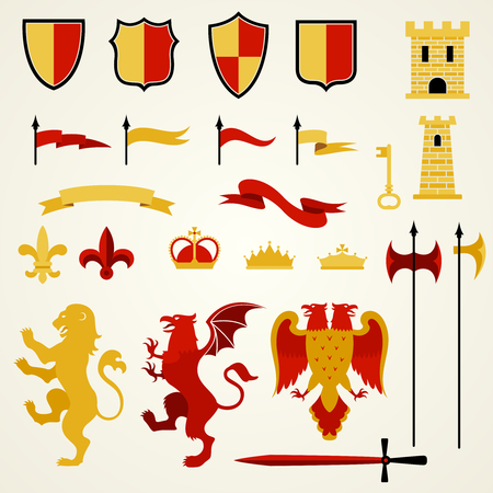 Heraldic elements and emblems set with lion two-headed eagle and sword flat isolated vector illustration Ilustração