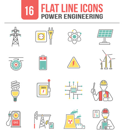 Power transmission high voltage lines engineering icons set with clean sustainable energy sources abstract isolated vector illustration