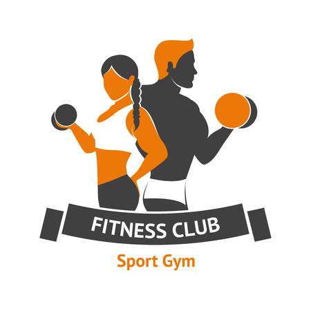 fitness hombres: Gimnasio plantilla logotipo del club con siluetas masculinas y femeninas con ilustración vectorial pesas